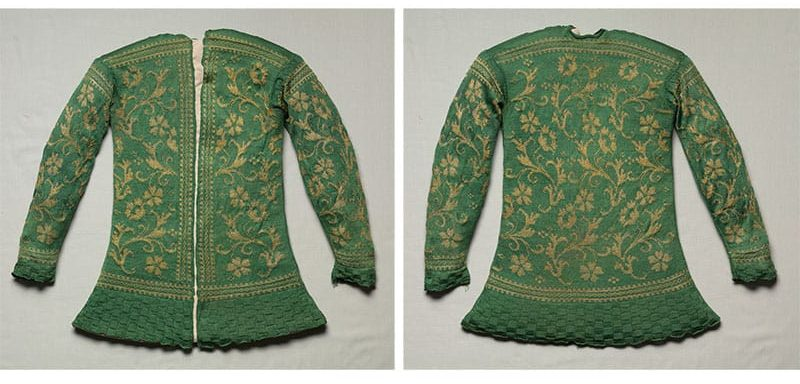 19th century knitted jacket front and back view