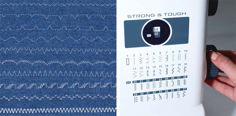 Variety of stitches on a denim fabric and sewing machine stitch selector collage