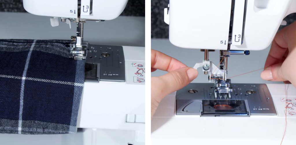 Brother ST371HD sewing machine free arm feature and threading process collage