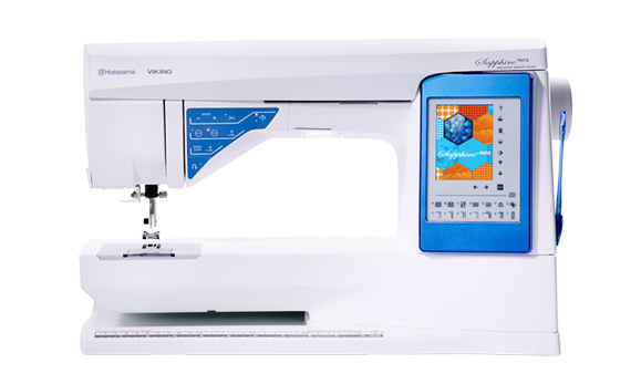 Husqvarna Viking sewing machine with a display panel on a white background