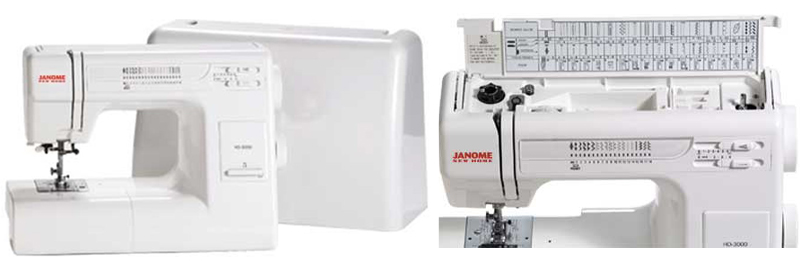 Janome HD3000 heavy duty sewing machine plastic case and stitching reference card collage