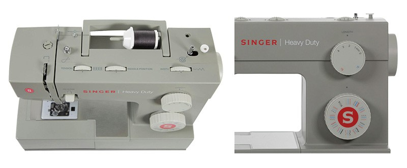 Singer Heavy Duty 4452 top view and stitch selection wheel collage