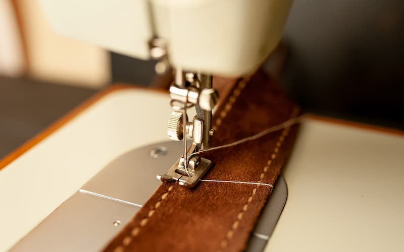 sewing leather on a sewing machine
