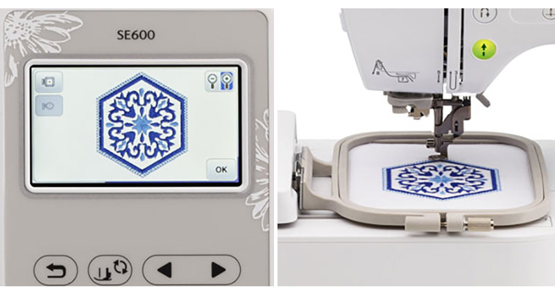 Brother SE600 LCD display and embroidery field collage