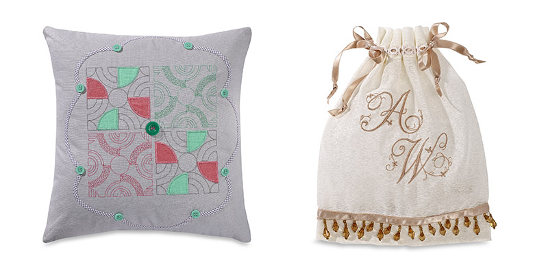 Embroidery designs on a pillow and a cotton bag