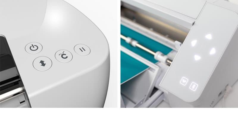 Cricut Maker vs Silhouette Cameo 4 control buttons collage