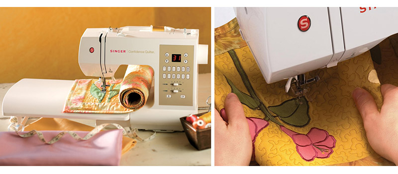 Singer 7469Q quilting machine extension table and quilting process collage