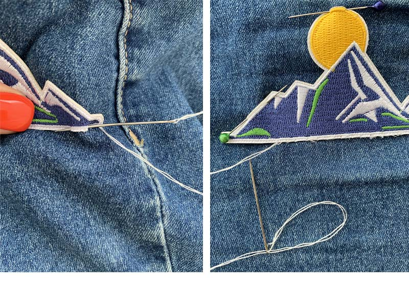 Process of sewing patch to a denim fabric by hand