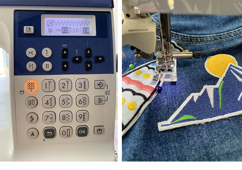 Sewing machine LCD display and denim fabric with a patch under a presser foot collage