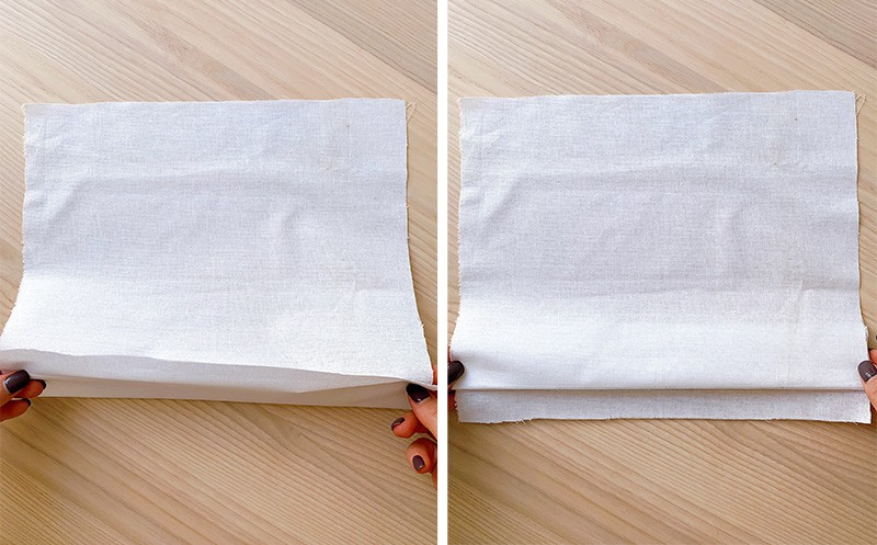 fabric folded along the hemline with fold fabric on top of seam allowance