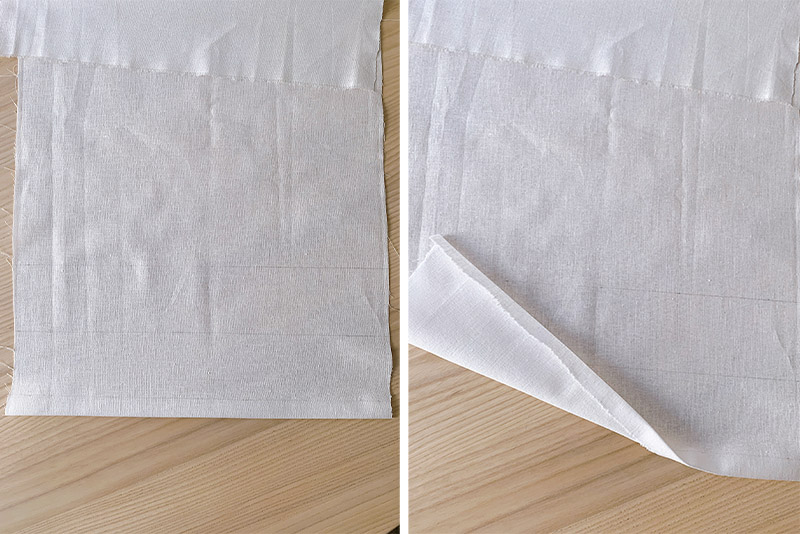 folded raw edge on a white piece of fabric