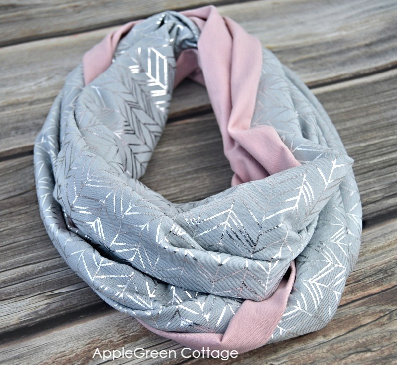 grey and pink color infinity scarf