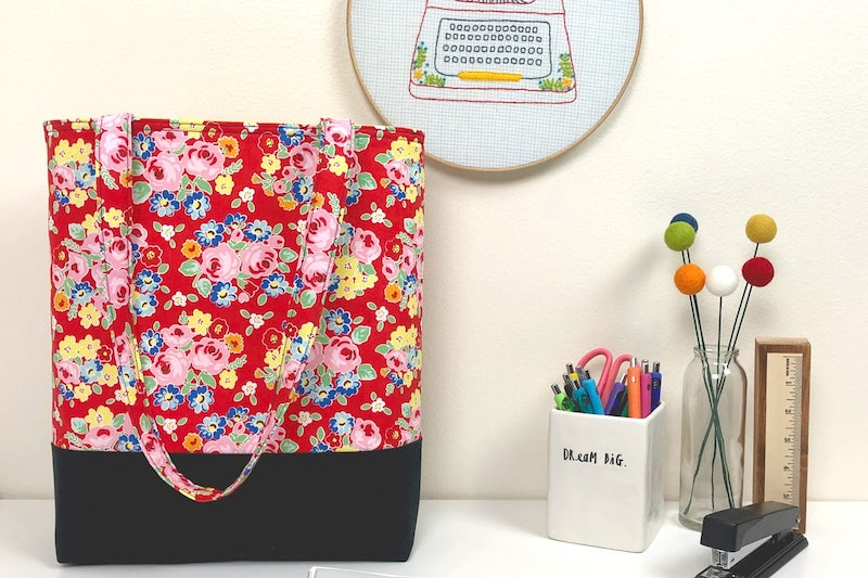 floral pattern tote bag on a table