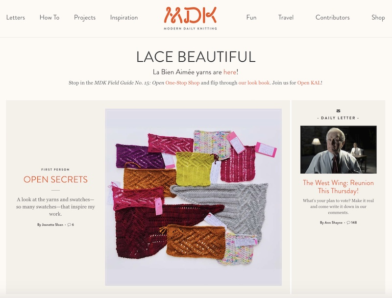 Modern Daily Knitting blog home page