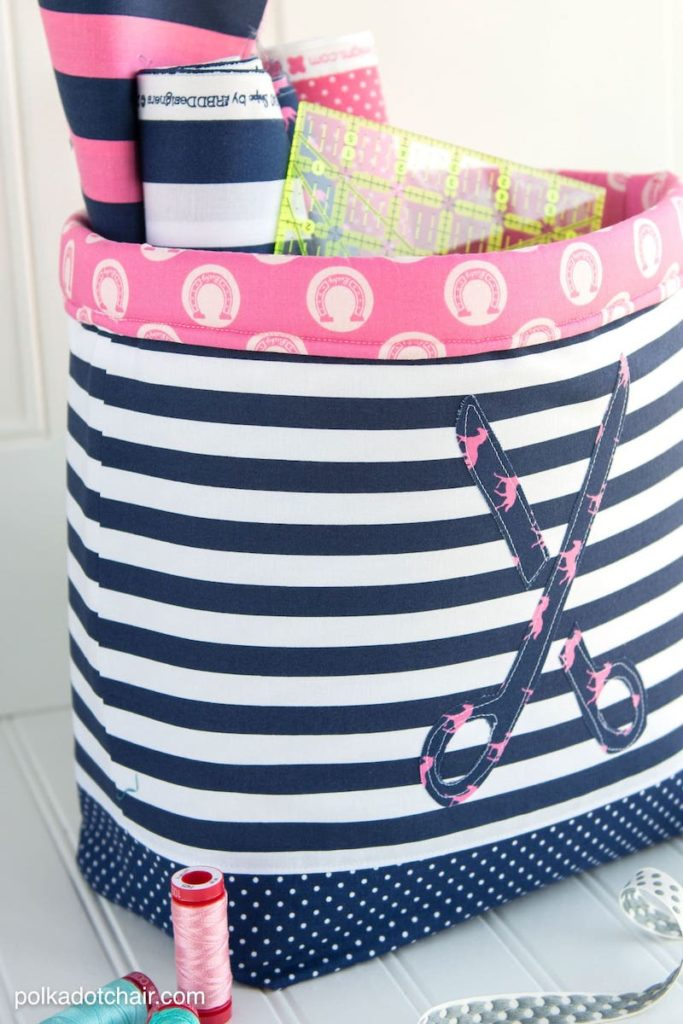 fabric basket with craft supplies