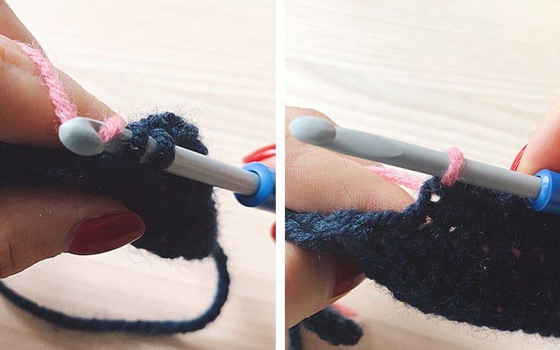 change yarn color in tapestry crochet
