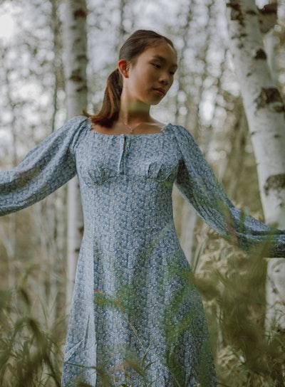 woman wearing empire waisted dress