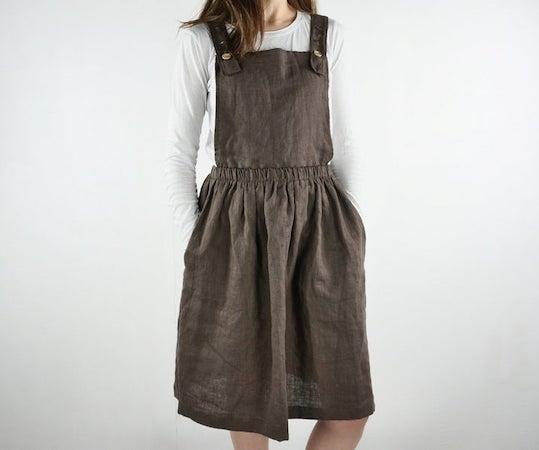 woman wearing pinafore dress