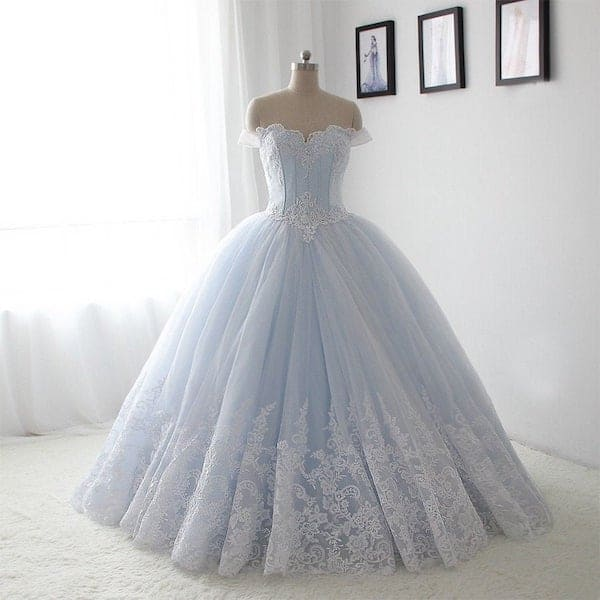 princess gown on a dress form