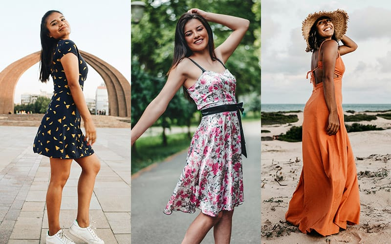 women wearing mini, midi and maxi dresses
